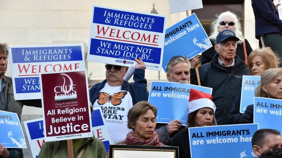 Manifestação de apoio aos imigrantes