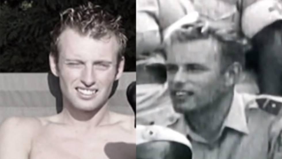 À esquerda, Joey Hoofdman, suposto filho de Jan Karbaat. À direita, o médico em uma foto quando jovem.