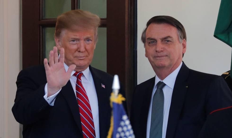 Trump e Bolsonaro nesta terça-feira, na Casa Branca.