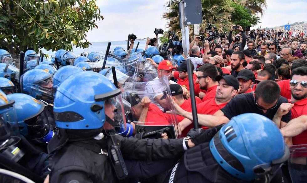 Polícia italiana entra em confronto com manifestantes contrários à cúpula do G-7.