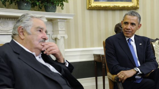Barack Obama e José Mujica na coletiva na Casa Branca.