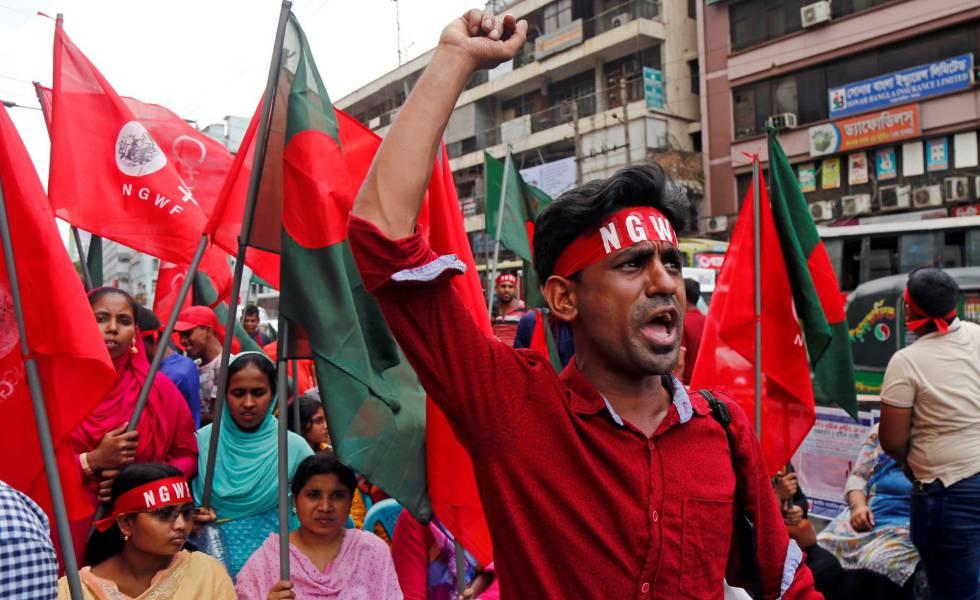 Manifestação de trabalhadores em Bangladesh nesta quarta-feira