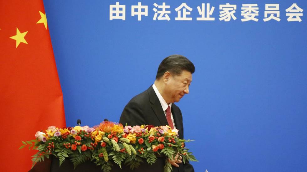 O presidente chinês Xi, depois de sua intervenção em um foro entre França e Chinesa, na quarta-feira em Pequim.