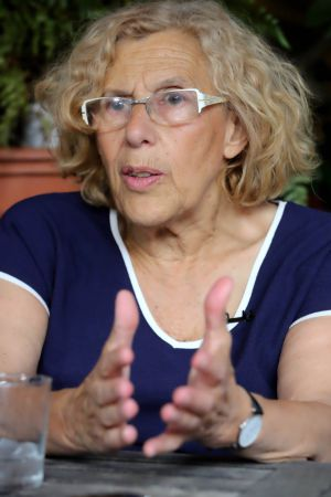 Manuela Carmena during her interview with EL PAÍS.
