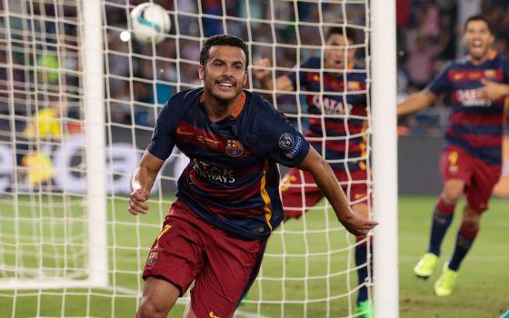 Pedro celebra o gol do triunfo perante o Sevilha.