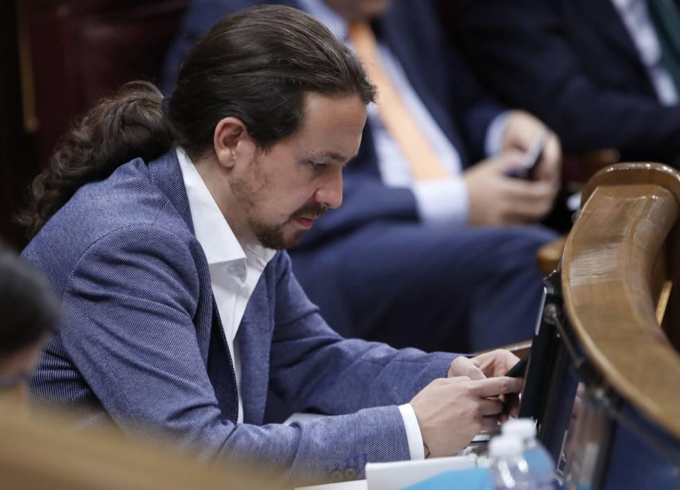 O líder do Podemos, Pablo Iglesias, no parlamento.