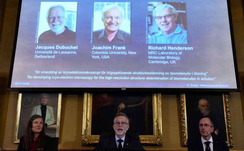 Anúncio dos ganhadores do Nobel de Química esta manhã, em Estocolmo (Suécia).