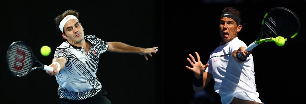 Federer e Nadal, em partidas diferentes no Aberto da Austrália deste ano.