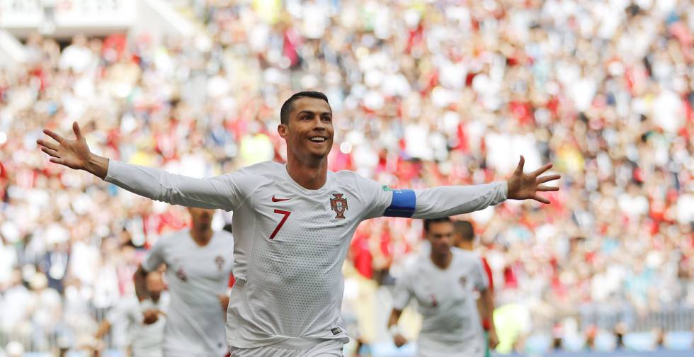 Cristiano Ronaldo após marcar na partida.