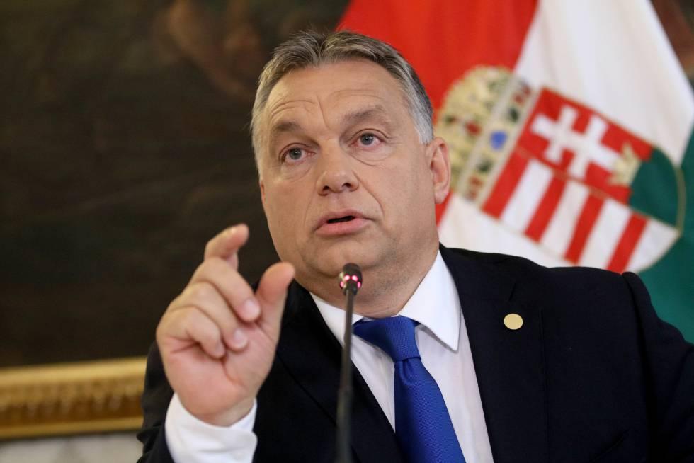 O primeiro-ministro da Hungria, Viktor Orban, durante uma entrevista coletiva em Viena, no dia 24 de setembro.