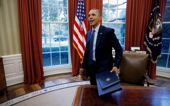 O presidente Obama no Salão Oval.