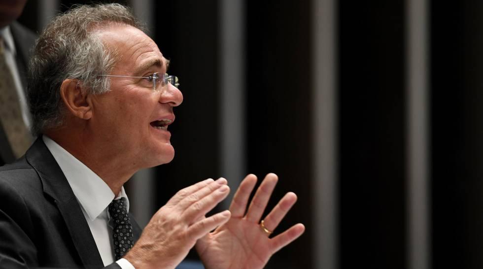 O senador Renan Calheiros durante a votação da PEC do Teto.