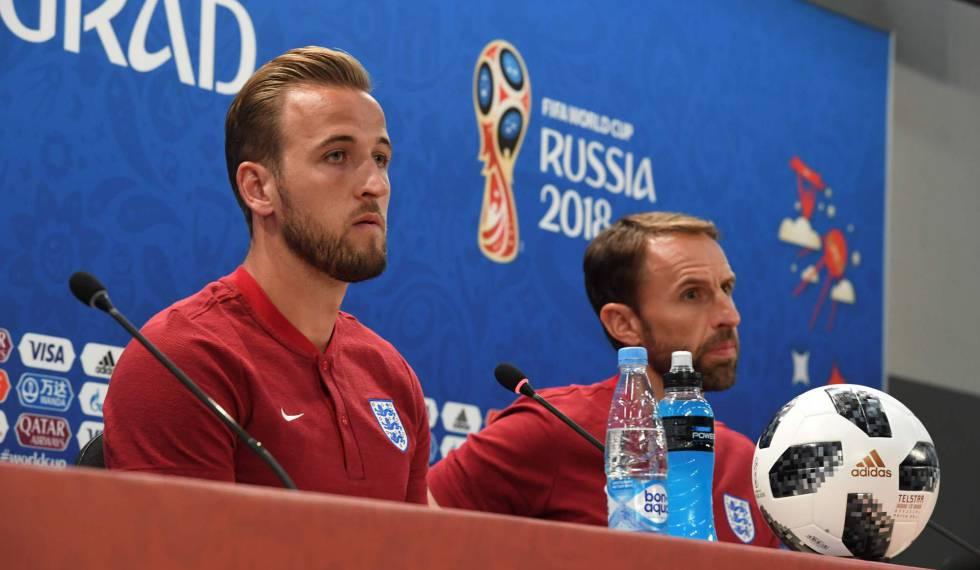 O atacante Kane e o treinador Gareth Southgate em entrevista antes da partida.