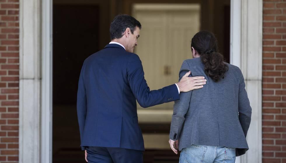 Pedro Sánchez recebe no Palácio da Moncloa o líder da aliança Unidas Podemos, Pablo Iglesias.