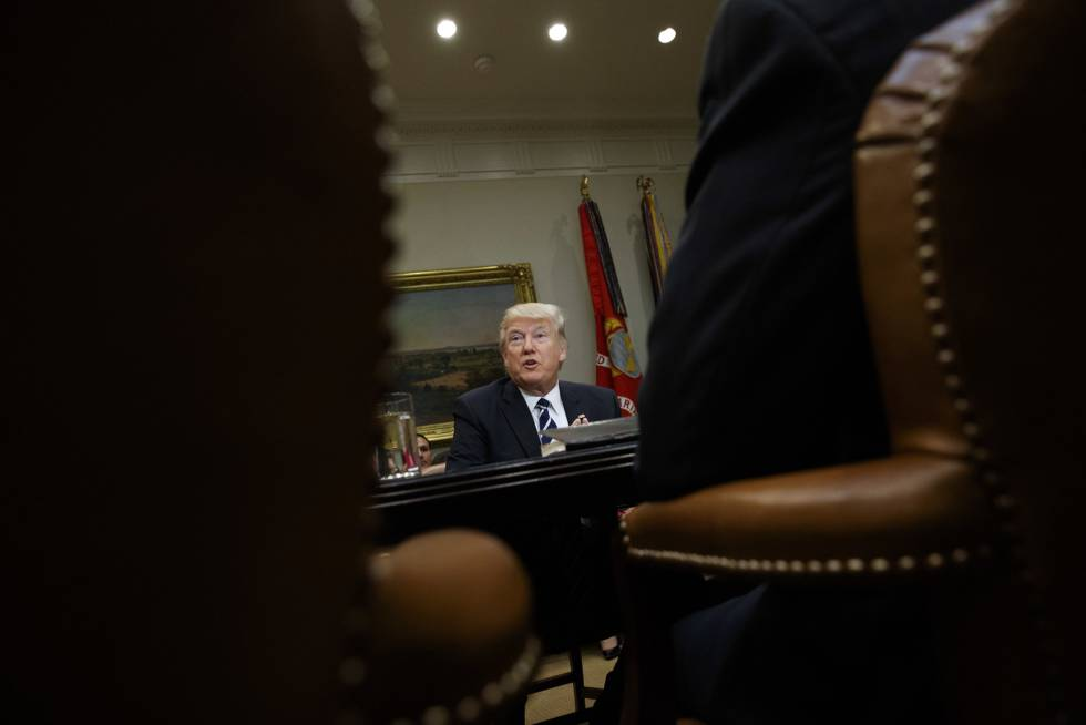 Donald Trump, durante uma reunião na Casa Branca em 14 de fevereiro.