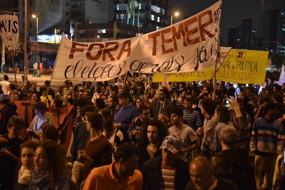 Manifestação contra o Governo Temer nesta quinta-feira, em São Paulo.