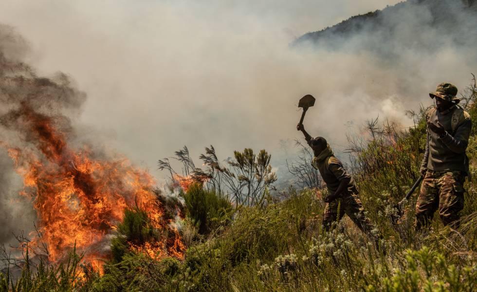 Soldados do exército queniano lutam contra um incêndio em março.