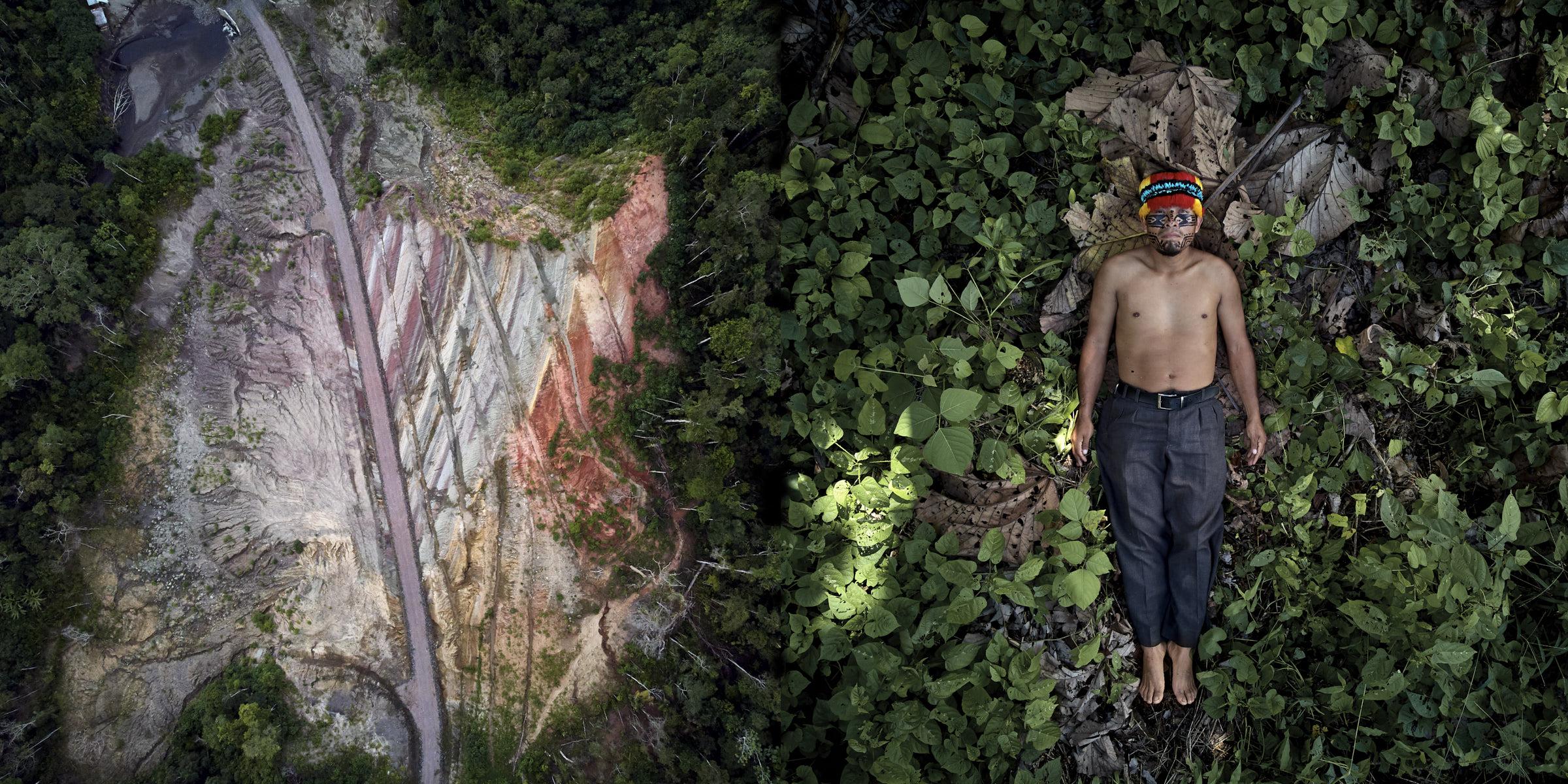 Julián Illanes é um indígena da nacionalidade Achuar do Equador que luta para evitar os impactos da nova estrada que está sendo construída dentro do território Achuar. Direita: Julián deitado em seu território. Esquerda: vista aérea da nova estrada que leva ao território Achuar.