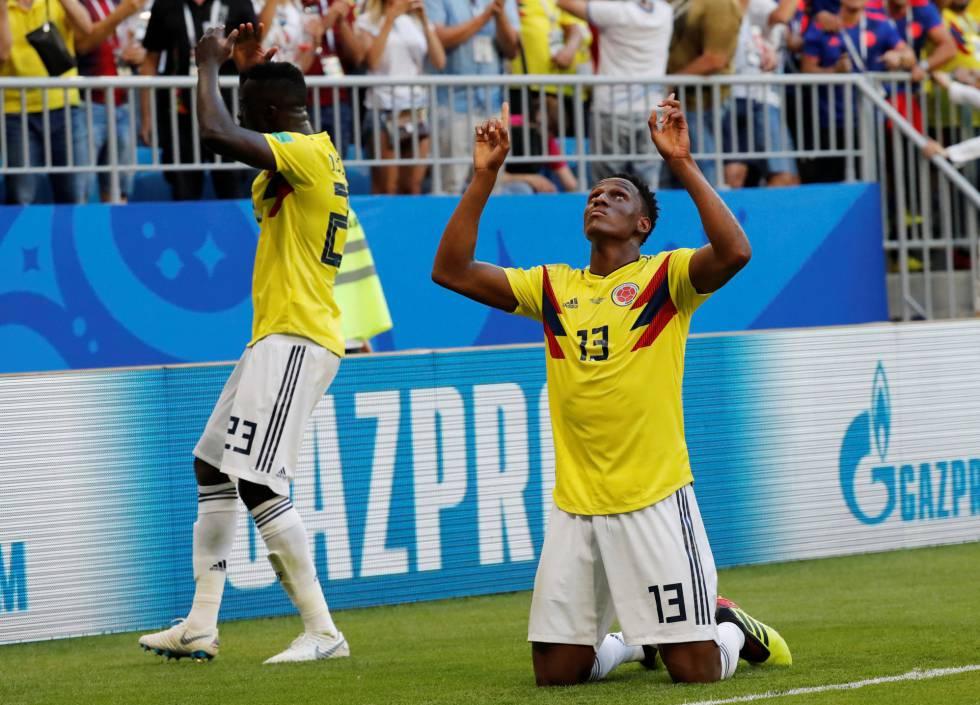 Yerry Mina comemora gol da Colômbia