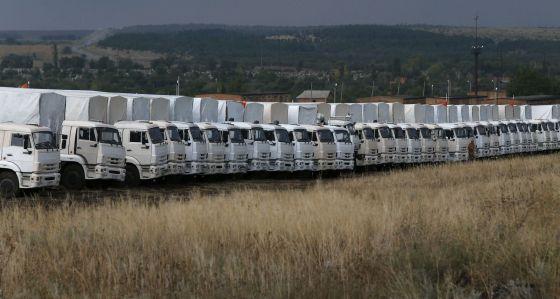 O comboio humanitário, na cidade russa de Kamensk-Shakhtinsky.