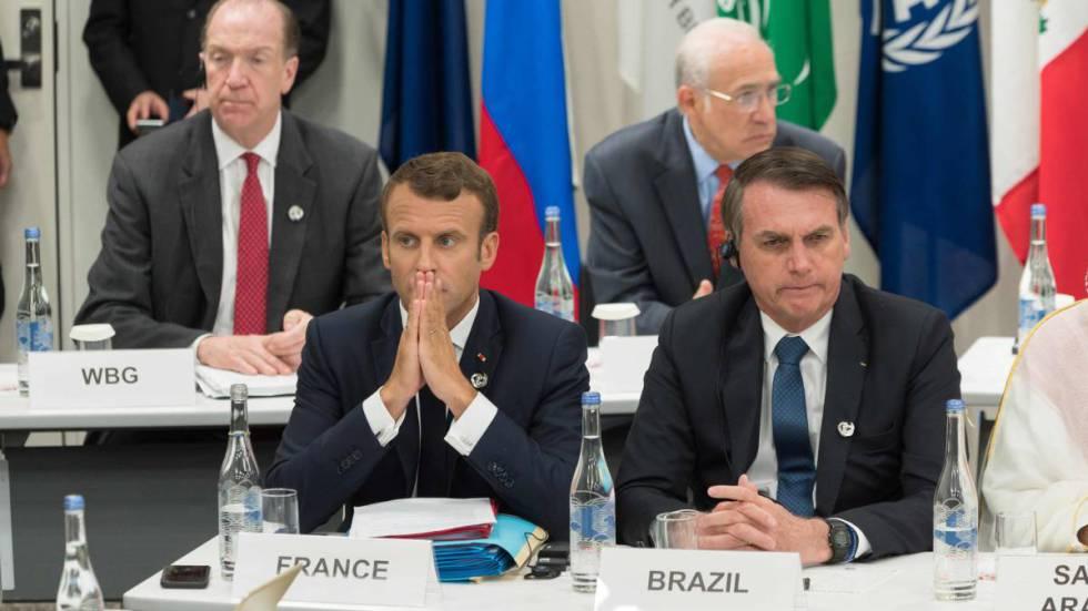 O presidente francês, Emmanuel Macron, junto a seu homólogo brasileiro, Jair Bolsonaro, no G20 de Osaka.
