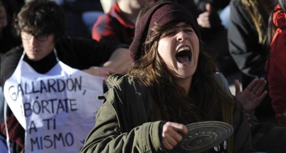 Protesto contra a nova lei do aborto.