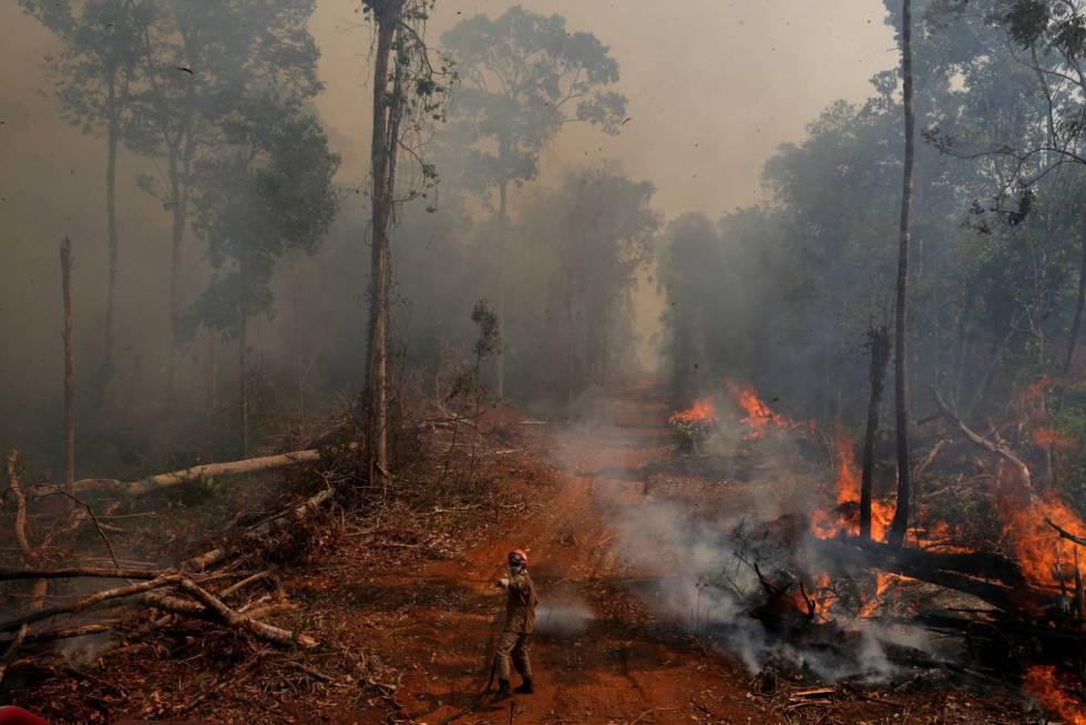 Bombeiro trabalha para apagar o fogo na Amazônia.