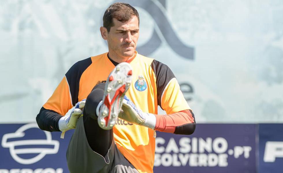 Iker Casillas durante o treinamento desta quarta-feira, antes do infarto