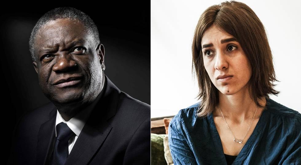 Denis Mukwege e Nadia Murad, prêmios Nobel da Paz 2018.