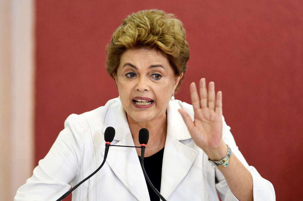 Dilma Rousseff, durante uma coletiva de imprensa ontem em Brasília.