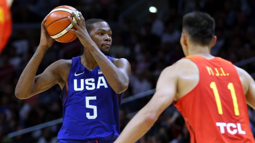 Kevin Durant durante a última partida contra a seleção chinesa.