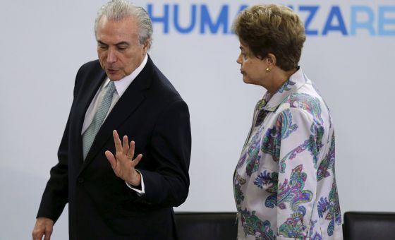 Temer e Dilma em evento no Palácio do Planalto.