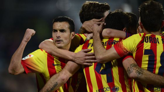 Pedro comemora o quinto gol do Barça.