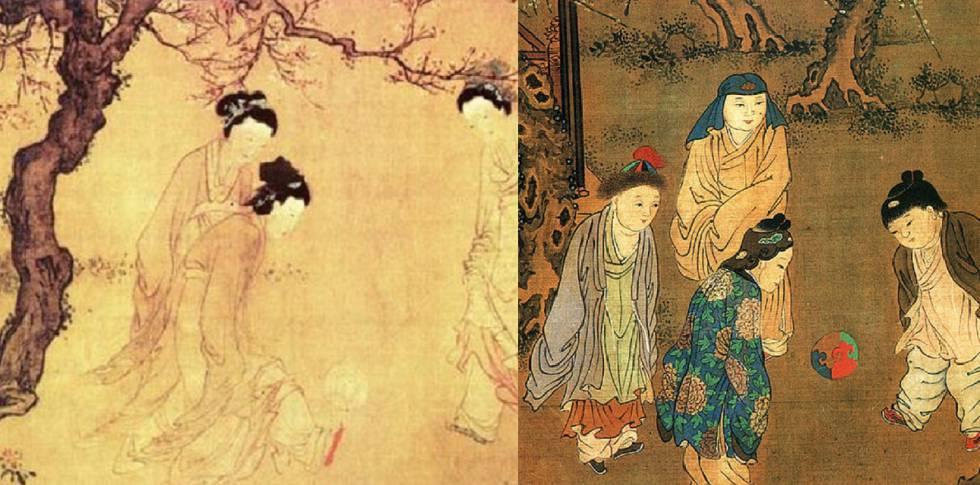 Duas das pinturas que mostram mulheres jogando.