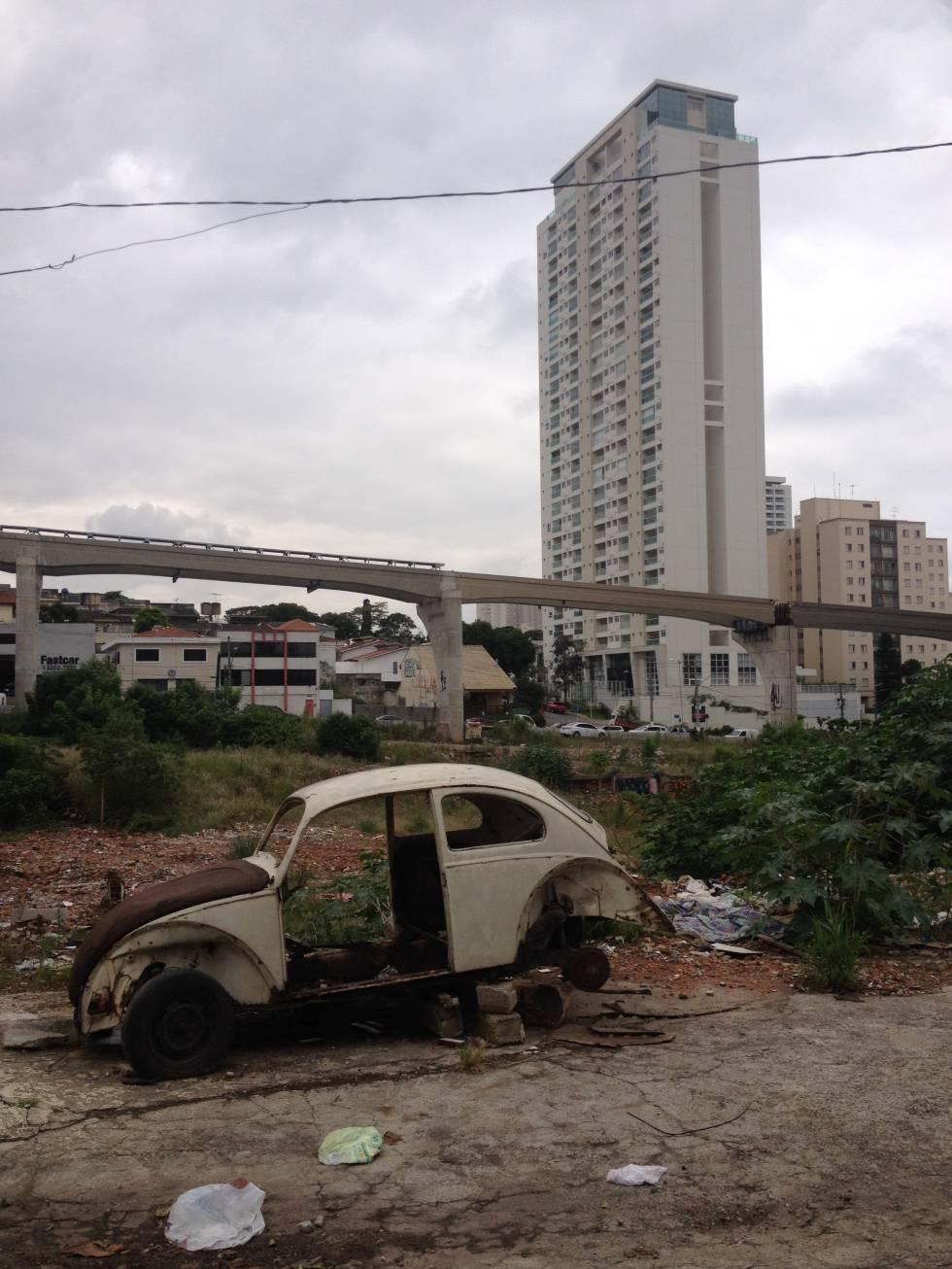 Obra no monotrilho na zona sul de São Paulo.