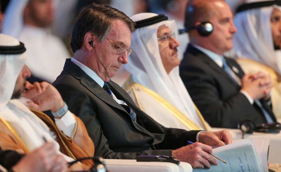Bolsonaro durante fórum de negócios em Abu Dhabi, em 27 de outubro.