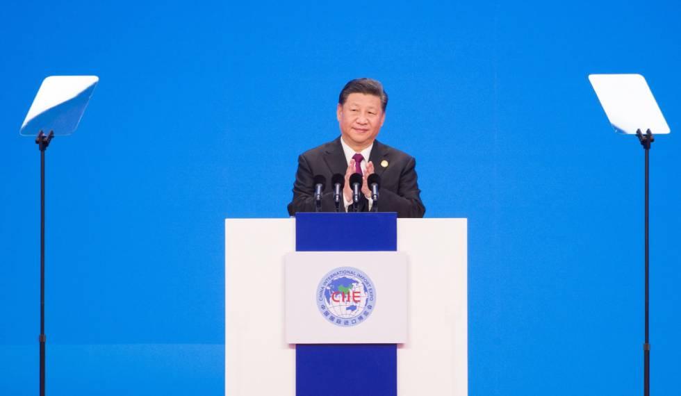 O presidente chinês, Xi Jinping, durante a cerimônia de inauguração da feira global de importação