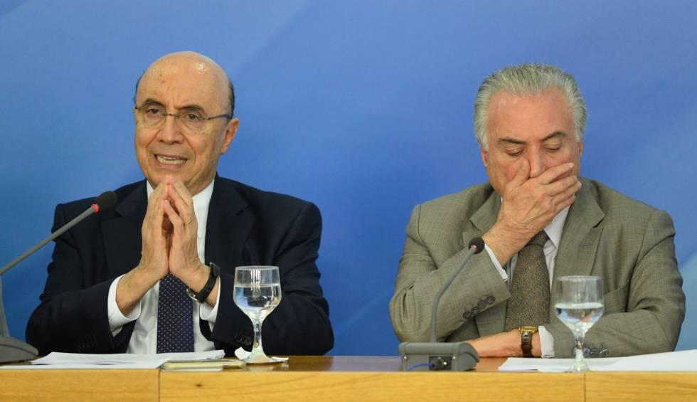 O ministro Meirelles e Temer em Brasília.