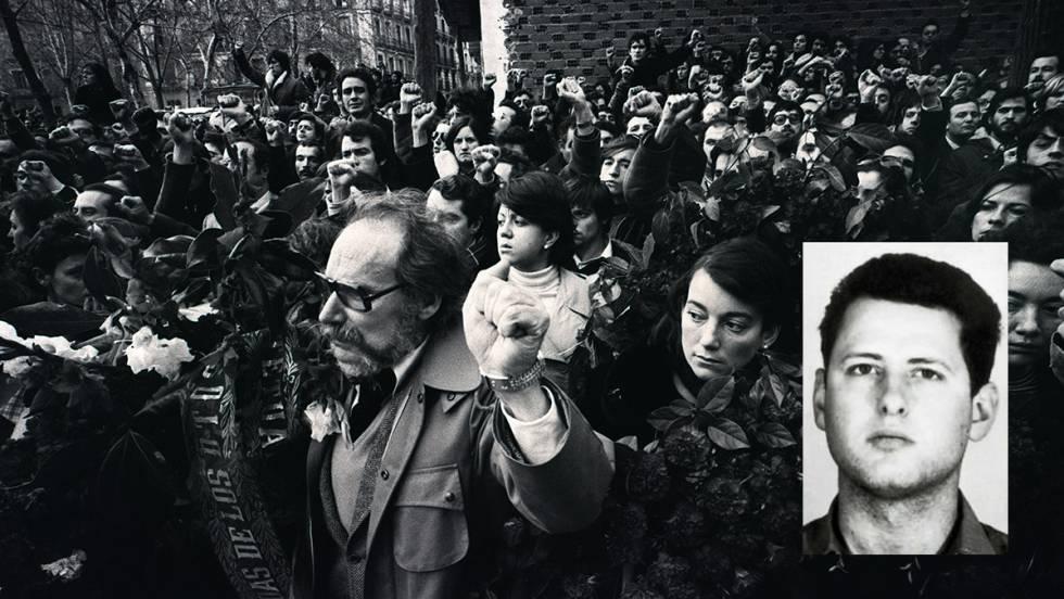 Manifestação depois da matança dos advogados de Atocha. García Juliá, na foto pequena
