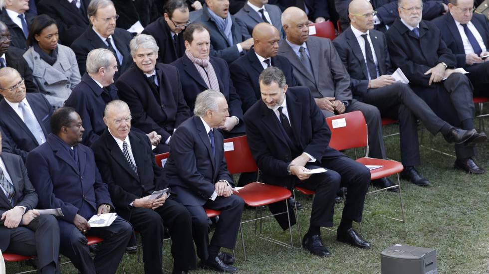 Sarney, Temer e o rei espanhol Felipe IV no funeral.