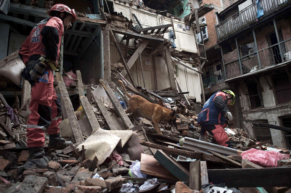 Bombeiros franceses trabalham com um cão de resgate entre as ruínas de uma casa em Katmandú (Nepal), no dia 28 de abril de 2015.