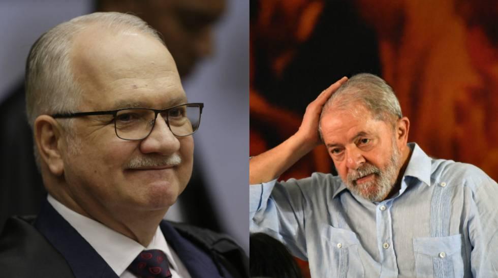 O ministro Edson Fachin (à esq.) e o ex-presidente Lula.