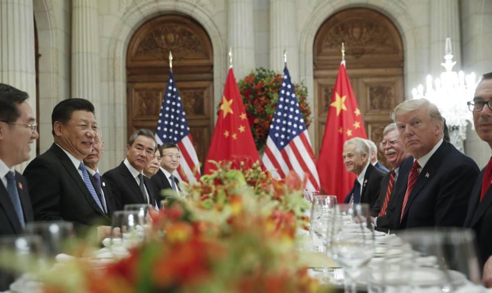 Xi e Trump, no encontro bilateral.