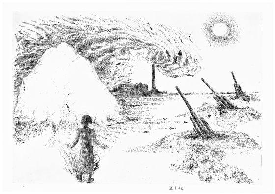 Ilustração de Günter Grass para 'Alabardas', de Saramago.