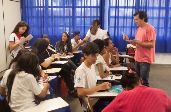 Alunos em aula de espanhol em São Paulo.