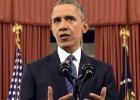 """""""Ameaça do terrorismo é real, mas a superaremos"""", disse o presidente neste domingo. Também pediu mais controle de armas"""
