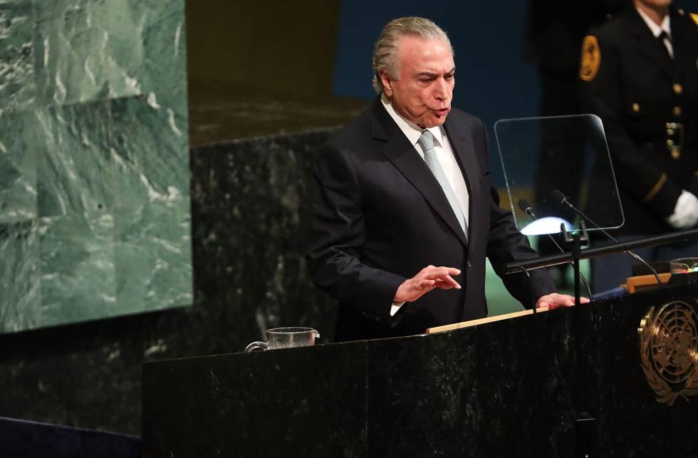 O presidente Michel Temer discursa na ONU.