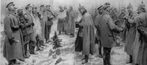 Tropas britânicas e alemãs celebrando o Natal de 1914.