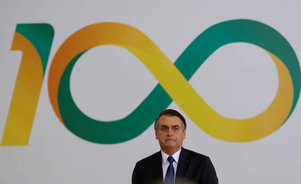 O presidente Jair Bolsonaro, na cerimônia dos 100 dias de Governo, em Brasília, nesta quinta-feira.