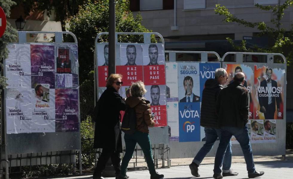 Cartazes eleitorais em Madri.